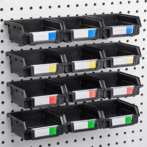 Pegboard Bins - 12 Pack Black - Hooks to Any Peg Board - Organize Hardware, Accessories, Attachments, Workbench, Garage Storage, Craft Room, Tool Shed, Hobby Supplies, Small Parts