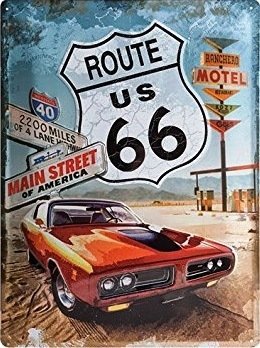 (UNiQ Designs Vintage Tin Signs-US Route 66 with Red Pontiac Road Signs Decor. Route 66 Decor Vintage Metal Signs-Perfect Road Signs,Garage Signs and Decor Metal Wall Signs Mancave Signs and Decor 12x8)