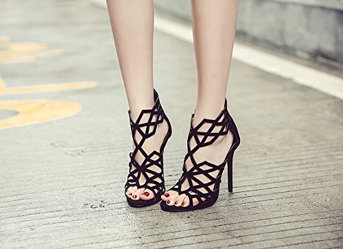 Peep ZHUDJ Sandalias Impermeable Zapatos De black Calzado Verano Toe qqx1FBZ4