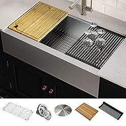 Farmhouse Kitchen Kraus KWF410-36 KORE Kitchen Sink Single Bowl, 36 Inch, 36″- Workstation farmhouse kitchen sinks