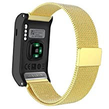 MoKo Watch Band for Garmin Vivoactive HR, Milanese Loop Stainless Steel Mesh Replacement Bracelet Strap for Vivoactive HR Sports GPS Smart Watch with Unique Magnet Lock, No Buckle Needed, Gold