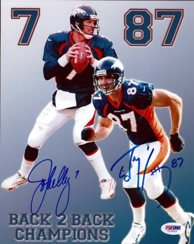 Photo Autographed Ed 8x10 - JOHN ELWAY & ED MCCAFFREY AUTOGRAPHED 8X10 PHOTO DENVER BRONCOS PSA/DNA STOCK #64941