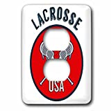 3dRose TNMGraphics Sports - Sports Red Circle Lacrosse USA - Light Switch Covers - 2 plug outlet cover (lsp_286291_6)