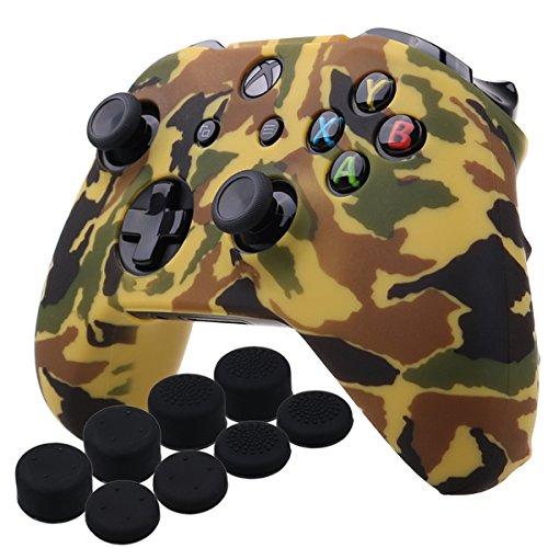 YoRHa Water Transfer Printing Camouflage Silicone Cover Skin Case for Microsoft Xbox One X & Xbox One S controller x 1(orange) With PRO thumb grips x 8