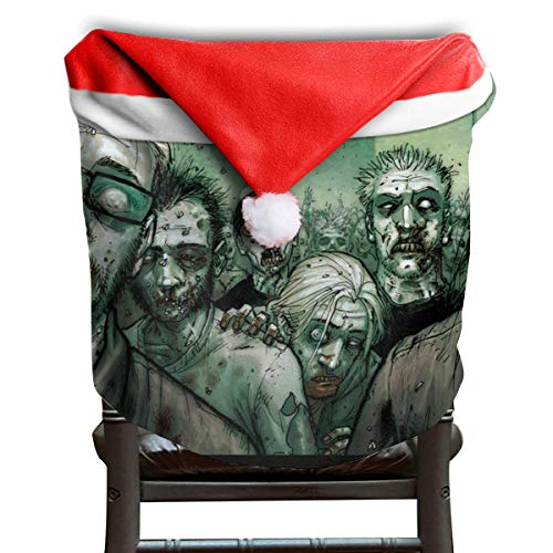 EDYE Halloween Scary Animated Zombie Bloody Christmas Xmas Themed Dinning Seat Chair Cap Hat Covers Ornaments for Backers Slipcovers Wraps Coverings Decorations Protector Set -