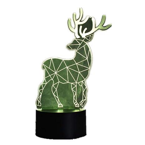 Deer 3d Estéreo Visión Lámpara de Dormir Acrílico 7 Colores ...