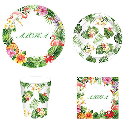 Hawaiian Summer Luau Party Supplies Pack for 16 Guests Including Lunch Dinner Plates, Dessert Plates, Lunch Napkins, Cups for Hawaiian Aloha Theme Wedding Beach Baby Shower Birthday Party