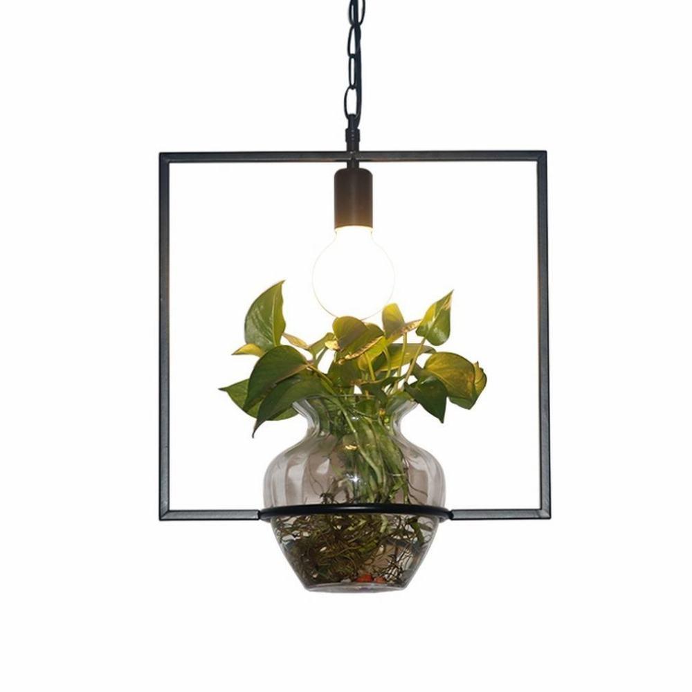 WXW Lampadario della pianta verde della Barra del Balcone della personalità Creativa nordica Pastorale della scrivania,A,Testa Singola den