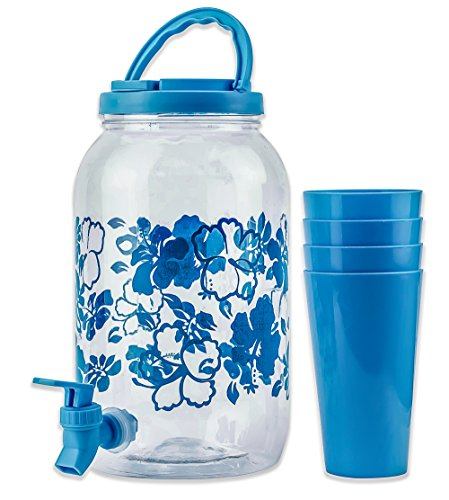 Amazon.com: DecorRack Plastic Beverage Dispenser with Spigot and 4 Cups, Spout Jar for Juice, Water, Cold Drinks Only, Portable 1 Gallon Container with Flip ...