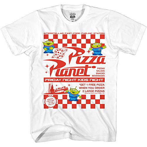Disney Pixar Toy Story Pizza Planet Take Out Flyer Disneyland World Tee Funny Humor Men's Graphic T-Shirt White 3X-Large ()