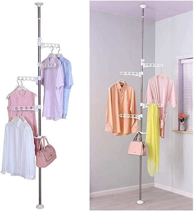 BAOYOUNI 4-Tier Standing Clothes Laundry Drying Rack Coat Hanger Organizer Floor to Ceiling Adjustable Metal Corner Tension Pole, Ivory