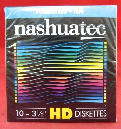 "New Nashuatec High Density HD 2-Sided 3.5"" Diskette IBM Formatted 10 Diskettes Per Pack for storage data."