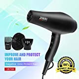 Cheap Hair Dryer with Diffuser,JINRI Hair Dryers 1875W Hairdryer Professional Negative Ions Hair Blow Dryer Far Infrared Heat 2 Speed and 3 Heat Portable Blowdryers AC Moto Hanging Ring – JR-104A Black