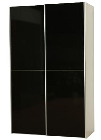 Dynamic24 Kleiderschrank Verona weiß schwarz hochglanz Schiebetüren ...