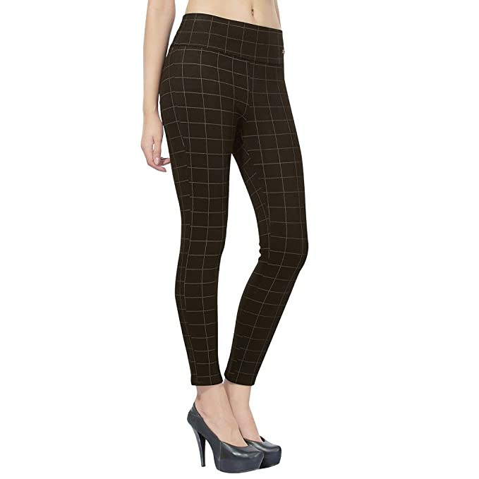 acb2d9e7cb4 Angel f Studio Slim Fit Free Size Womens Checks Pants- Black  Amazon.in   Clothing   Accessories