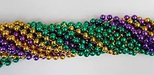 33 Inch 07.5mm Round Metallic Purple Gold and Green Mardi Gras Beads - 6 Dozen (72 Necklaces)