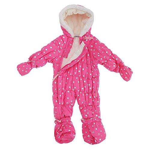 Baby Schneeanzug mit Kapuze, Sterne (3-6 Monate (56-62)) (Fuchsia)