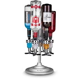 6 Bottle Bar Caddy/Liquor Dispenser-Chrome Finish