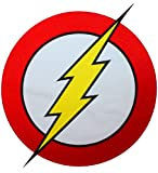 [Single Count] Custom and Unique (10'' by 12'' Inches) XL Large Superhero Costume Lightning Logo Speed Hero Flash Iron On Embroidered Applique Patch {Yellow, Red, White, and Black Colors}