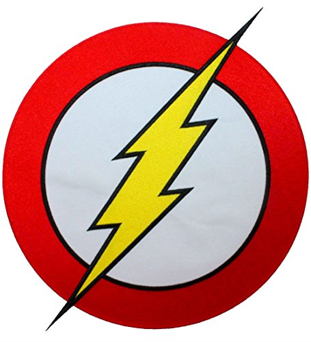 [Single Count] Custom and Unique (10'' by 12'' Inches) XL Large Superhero Costume Lightning Logo Speed Hero Flash Iron On Embroidered Applique Patch {Yellow, Red, White, and Black Colors} by DC Comics