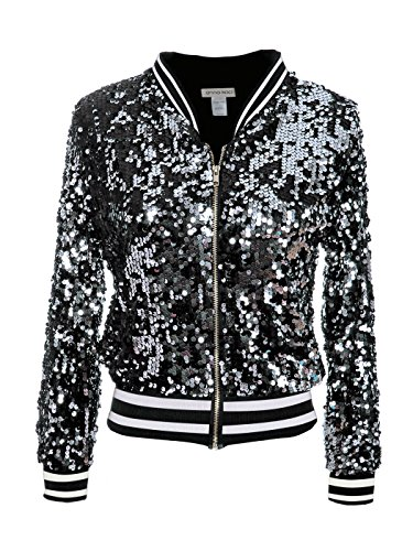 Anna-Kaci Womens Sequin Long Sleeve Front Zip Jacket with Ribbed Cuffs, Black with White Stripe, Small
