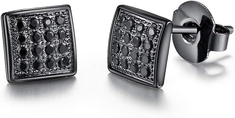 Tarsus Hypoallergenic Square Stud Earrings Diamond 316L Stainless Steel Nickel Free Jewelry Gifts for Sensitive Ears Men Guys Boys