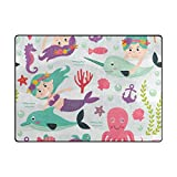 Vantaso Soft Foam Area Rugs Girls Mermaid Octopus Whale Non Slip Play Mats for Kids Boys Girls Playing Room Living Room 63x48 inch