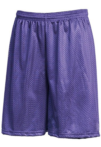 Hat and Beyond IH Men Mesh Shorts with Pockets Lightweight Plain Basketball Workout Jersey Fitness Gym (Large, 1ih01_Purple)