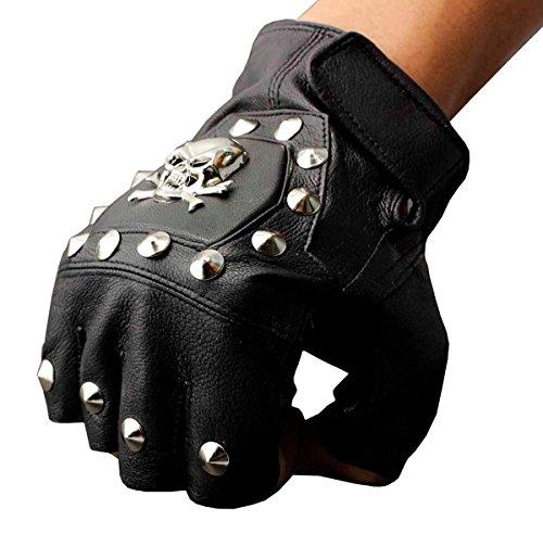 Men's Real Leather Skull Punk Rocker Driving Motorcycle Biker Fingerless Gloves