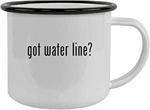 got water line? - Sturdy 12oz Stainless Steel Camping Mug, Black