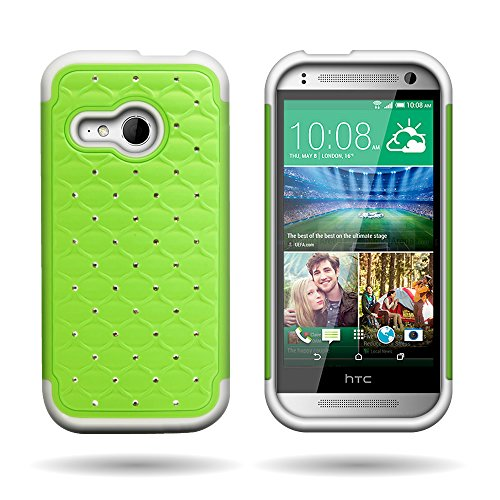 For HTC One Mini 2 / One Remix Hybrid Diamond Dual Layer Case by CoverON- Hard Neon Green Plastic + Soft White Silicone