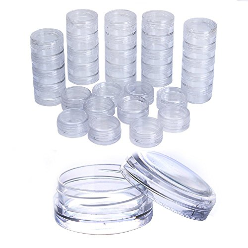 Born Pretty 50 PCS 3G Nail Art Round CLEAR Screw Cap Lid with Clear Base empty Plastic Container Jars for Cosmetic Cream Pot Makeup Eye Shadow Nails Powder Jewelry