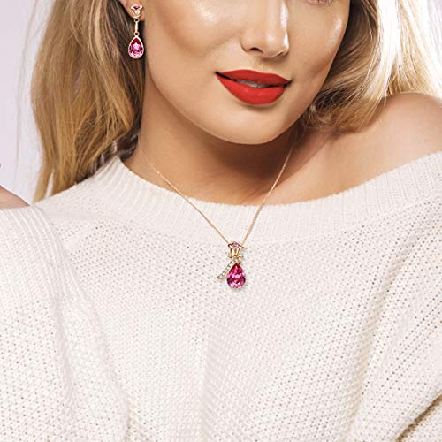 CDE Rose Flower Jewelry Set for Women Hypoallergenic 18K Rose Gold /White Gold Plated Ladies Necklace Embellished with… 5