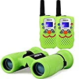 Retevis RT32 Kids Walkie Talkie Long Range and 8x21 Children Binoculars(Green)