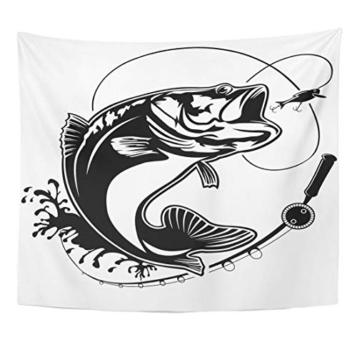 Remain Unique Tapestry Walleye Fishing Bass Fish Club Emblem White Jump Black Wall Hang Decor Indoor House Made in Soft