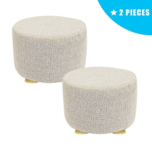 2 Piece Ottoman - Jerry & Maggie - 2 Pieces Footstool Fabric Ottomans Bench Seat Foot Rest Step Stool with Feet Protection Design | Round - Short 4 Legs - Beige