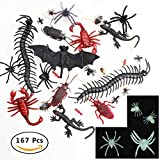 Powerful 167 Pieces Assorted Plastic Realistic Bugs Fake Insects Cockroach Worms Bug Glow in the Dark Spiders, Halloween Kitchen Decor for Kids