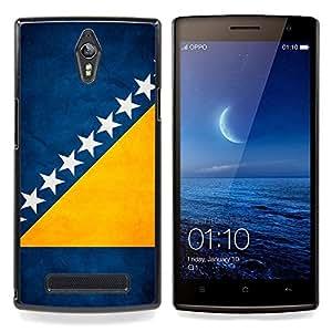 "Qstar Arte & diseño plástico duro Fundas Cover Cubre Hard Case Cover para OPPO Find 7 X9077 X9007 (Bandera nacional de la Serie-Bosnia y Herzegovina"")"