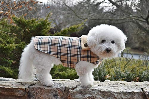 Furberry Fashion Nova Checks DOG COAT in Designer Tan Plaid & Unisex & Warm Jacket in All Sizes with Custom FREE TAILORING FREE 2-3 Days SHIPPING ()