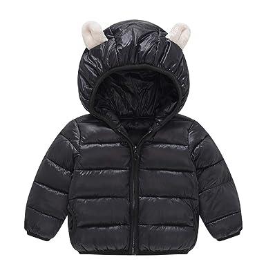 Toddler Baby Down Jacket Boys Girls Kids Warm Winter Hooded Coat Outerwear  2-3T Black 518cdb62f6d7