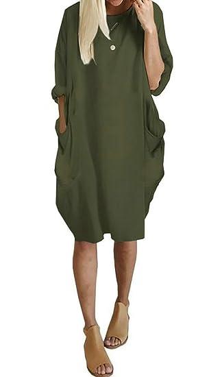 9aab9917c27f Suncolor8 Womens Casual Loose Pocket Long Sleeve Midi Shift Dress Armygre S
