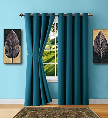 Warm Home Designs 1 Panel of Blue Teal Blackout Curtains with Grommets. Insulated Thermal Window Panel Is 54