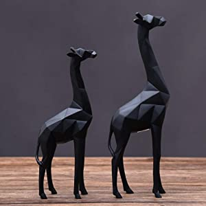Kuku Ornaments Origami Giraffe Resin Home Decor Accents Animals Living Room Bedroom Decoration Items Ornament Crafts Creative Wedding Birthday Gifts 2pcs/Set (Color : Black)