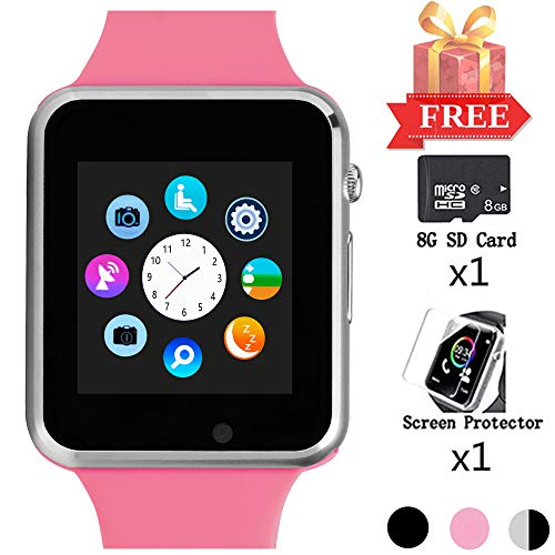 Beaulyn Smart Watch for Android Phones, Smartwatch Compatible with Bluetooth with SD SIM Card Slot Watch Phone Call Message Camera Pedometer for iOS (Partial Functions) Sweatproof for Kids Women Men