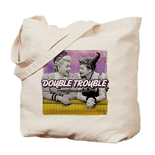 CafePress - I Love Lucy: Double Trouble - Natural Canvas Tote Bag, Cloth Shopping Bag (Double Trouble Tote)
