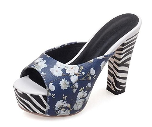 Mujeres Peep Toe Pump verano elegante mulas impresas frescas sandalias de cebra rayas de tacón alto plataforma de zapatos de tacón Tamaño 34-43 Blue