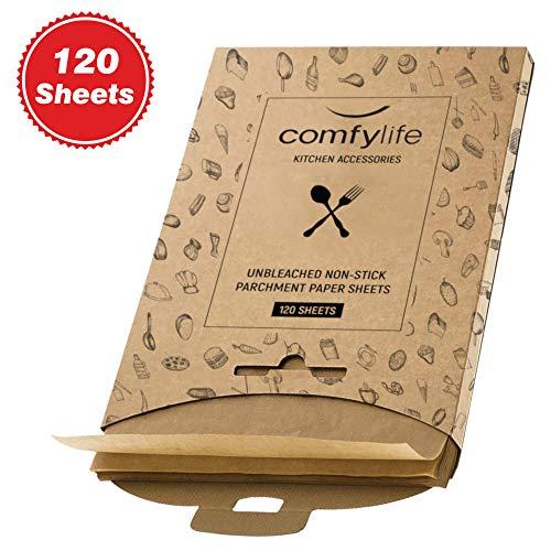 120 x Parchment Paper Sheets - No Curl, No Tear, No Burn Baking Paper (16 x 12 inch) - Precut Parchment Paper For Baking - No Chemical Unbleached Parchment Paper - Cookie Paper Baking Sheets