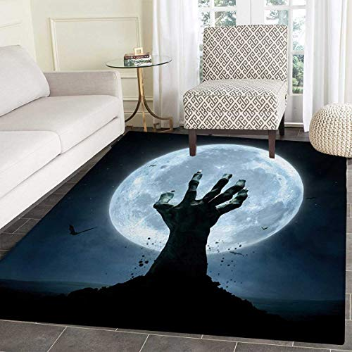 (Halloween Door Mat Rug Realistic Zombie Earth Soil Full Moon Bat Horror Story October Twilight Themed Bath Mat 3D Digital Printing Mat 48