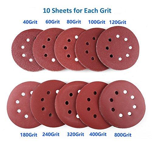 5-inch-8-hole-hook-and-loop-sanding-discs-by-lotfancy-100pcs-40-60-80-100-120-180-240-320-400-800-grit-assorted-orbital-sander-round-sandpaper
