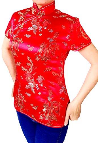 Women'S Asia Miss Geisha Qipoa Blouse Blazer Top Shirt Costume Cosplay with Dragon patterns (38, (Red Dragon Girl Geisha Costume)
